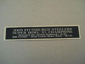 Steelers Super Bowl 40 Nameplate For A Football Mini Helmet Display Case 1.5 X 6