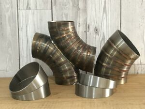 Qty-1 304 Stainless Steel Exhaust 10° Pie Cut 63mm 2.5 inch rough cut