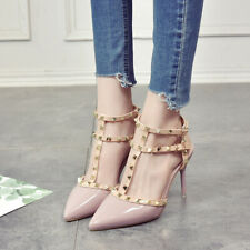 Women's pointed Toe high heels Rivet sexy stiletto shoes increased buckle shoes