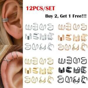 12pcs/Lots Stainless Steel Ear Clips on Wrap Ear Cuff Earrings Set Non Piercing