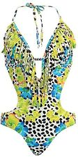 Fringe Leopard Spot Hawaiian Tropical Flower Plunge Cut-out Monokini Swimsuit M