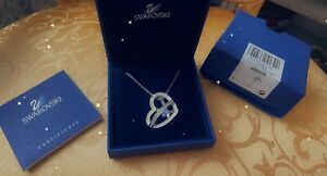 100% Genuine Swarovski Etera Crystal Heart Necklace, Pendant with Opal bead