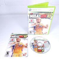 NBA 2K10 (Microsoft Xbox 360, 2009) Kobe Bryant Game Cover Complete
