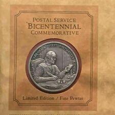 1975 Postal Service Bicentennial - Ben Franklin Pewter Medal & Cover w/COA*