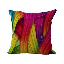 Colored Ribbon Cotton Linen Pillow Case Rainbow Cushion Cover Bed Decor