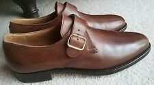 $648 Brooks Brothers Peal & Co by Crockett & Jones Brown Monk Strap shoes sz 8D