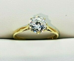 1 carat cz Solitaire Ring in Hallmarked 9ct Gold, Free Insured shipping #Xx