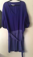 DVF Diana Von Furstenberg 100%Silk Two Tone Blue Color Short Sleeves Dress Sz 12
