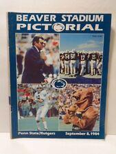 Beaver Stadium Pictorial football program: Sept. 1984 Penn State vs Rutgers