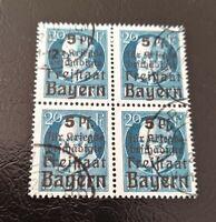 """Bayern Freistaat """"Hilfe f. Kriegsbes.(173A) 20 Pf+5Pf.,Viererblock gestempelt"""