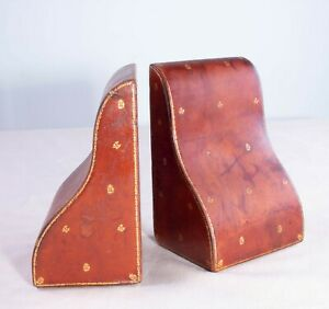 Pair of Antique Edwardian Walter Jones Morocco Shaped Red Leather Book Ends