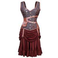 Steampunk Victorian Medieval Renaissance Steel Boned Corset Dress Plus Size 6-34