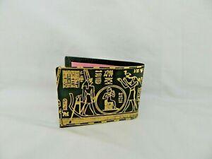 Egyptian Genuine Leather Men Handmade Gold Embossed Wallet Black Pharaoh #119