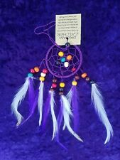 Dreamcatcher Small Mobile Wall Hanging Purple Beaded Home Car Decor Gift