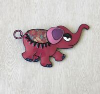 Unique Elephant large brooch n enamel on  metal