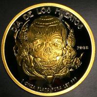 2018 1 Oz  Dia De Los Muertos  Mexico Day Of The Dead Skull Silver 24k Gold Gild