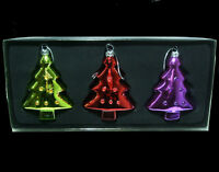 """Christmas Tree Glass Ornaments with Diamonds 3 ps Lot 4"""" Large in box vtg german"""
