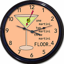 Martini Lover Wall Clock Martini Cocktail Gin Olive Liquor Alcohol Booze New 10""