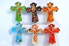 Wholesale lots 6X Gold foil Handmade Glass Cross Pendant Fashion Jewelry FREE