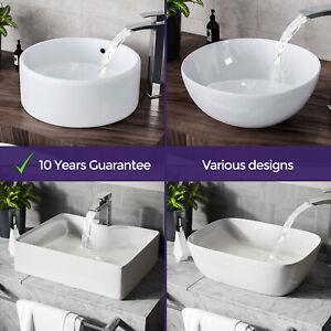 Bathroom Basin Sink Hand Wash Counter Top Wall Mounted Hung Ceramic