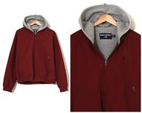 90s Vintage Mens POLO SPORT Ralph Lauren Bomber Jacket Hooded Red Size L