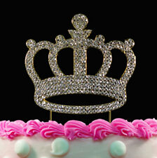 Gold Crown Cake Toppers Crystal Bling Princess Birthday Baby Shower Cake Topper
