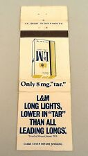 Matchbook Cover ~ L&M LONG LIGHTS CIGARETTES Lower In Tar Rear Strike 20 DDB
