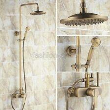 """Vintage Antique Brass Bathroom 8"""" Round Rain Shower Faucet Set Mixer Tap Fan043"""