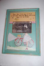 """FRAME Hang or Stand DISTRESSED GREEN Girl Child BIKE 10 3/8""""x14"""" for 6x4 photo"""