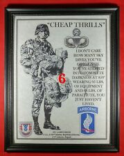 """Mc-Nice: Army Airborne """"Cheap Thrills"""" 173rd Airborne Bgd Framed Personalized"""
