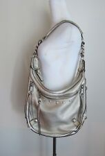 Authentic Versace Large Hobo Purse Platinum Metallic Leather Silver Studded