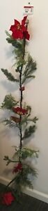 6 FT Ashland Poinsettia Berries Pine Cone Pine Needle Sparkly Christmas Garland