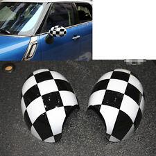 2x Black White Checker Side Mirror Covers Caps for MINI Cooper R55 R56 R57 07-13
