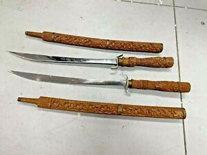 Vintage Pair 2 Thai Dha SWORDS Hand Carved Wood Scabbard Vietnam Machete Bermese