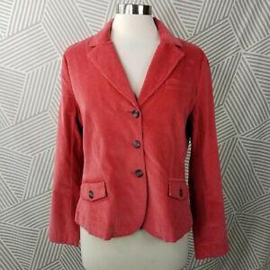 Talbots Corduroy Blazer Jacket size 14 Petite Stretch Pinwale Corduroy Pink