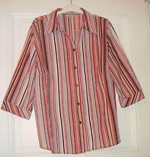 Damen Bluse 3/4 Arm C&A Gr. 50 rot/braun/beige gestreift Crinkle-Material