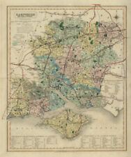 Hampshire antique county map by J & C Walker. Railways & boroughs 1868 old