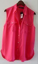 NWT RALPH LAUREN Womens Size 16 XL Pink Hibsicus Sleeveless Button Down Shirt