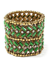Amrita Singh Thompson Street Stretch Bracelet Green Resin Austrian Crystals
