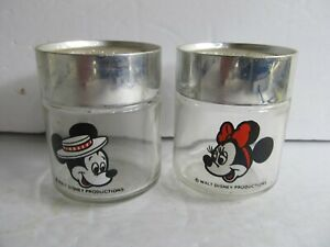Vintage Disney Mickey and Minnie Mouse Glass Salt and Pepper Shakers  (D)