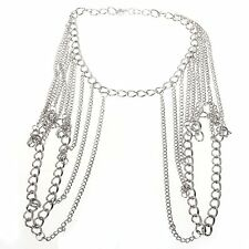 Women's Alloy Shoulder Body Chain Harness Necklace Silver Fashion LW