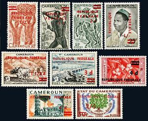 Cameroun 343-351, MNH Bananes, Bowman, Pont, Café ,Oak Emblème Surcharged, 1961