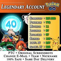 Pokemon Account GO • Level 40 • MYTHICAL • LEGENDARY • LEGACY • SHINY • 100% IV