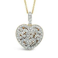 LeVian 14K Yellow Gold Diamond Filigree Love Heart Valentine Pendant Necklace