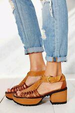 Urban Outfitters MAMUT Platform Sandal Ilia T-Strap Leather Sz 8 Tan $260