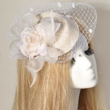 hot gift feather pillbox hat fascinator veil  millinery flower wedding hair clip