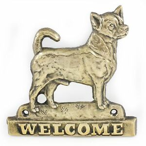 Chihuahua Smooth Coat  - brass tablet with image of a dog, Art Dog