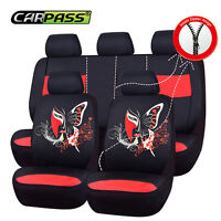 CAR PASS Car Seat Covers Red Butterfly Automobile Universal Fit Rear Split Bench