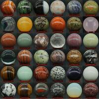 40MM Wholesale Natural Gemstone Sphere Crystal Reiki Healing Globe Ball / Stand