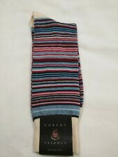 Robert Talbott Dress Socks, red white blue grey stripes, new, size 10-13